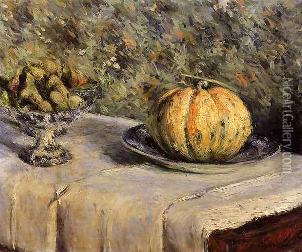 Melon And Bowl Of Figs Oil Painting - Gustave Caillebotte