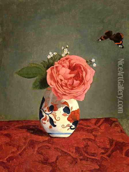 Garden Rose And Blue Forget Me Nots In A Vase Oil Painting - Gustave Caillebotte