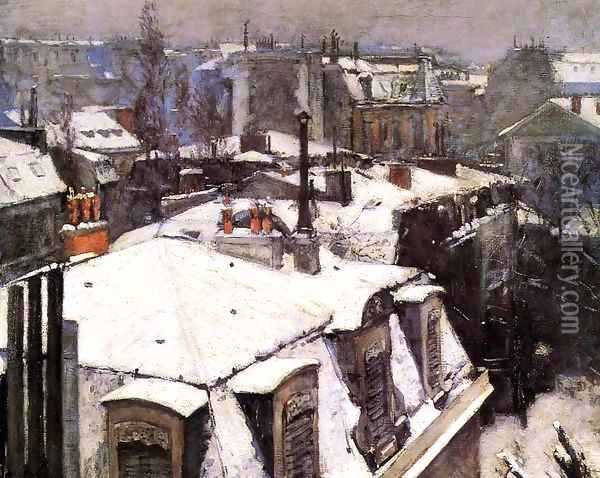 Rooftops Under Snow Oil Painting - Gustave Caillebotte