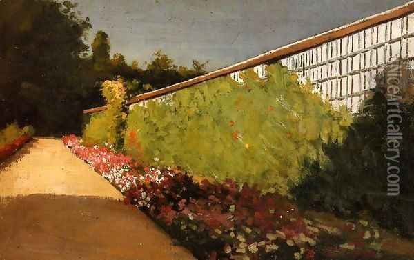 The Wall Of The Kitchen Garden Yerres Oil Painting - Gustave Caillebotte