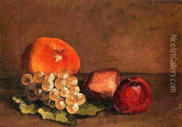 Peaches Apples And Grapes On A Vine Leaf Oil Painting - Gustave Caillebotte