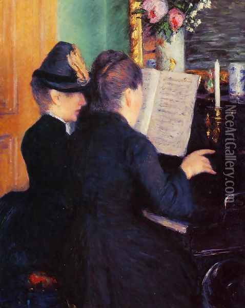 The Piano Lesson Oil Painting - Gustave Caillebotte