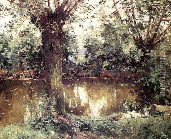 Landscape Banks Of The Yerres Oil Painting - Gustave Caillebotte