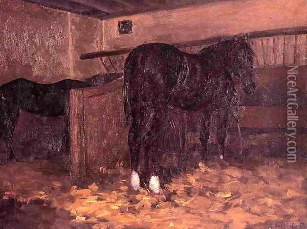 Horses In The Stable Oil Painting - Gustave Caillebotte