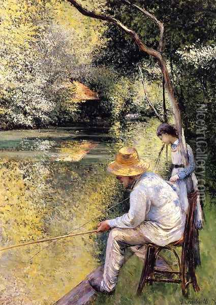 Fishing Oil Painting - Gustave Caillebotte