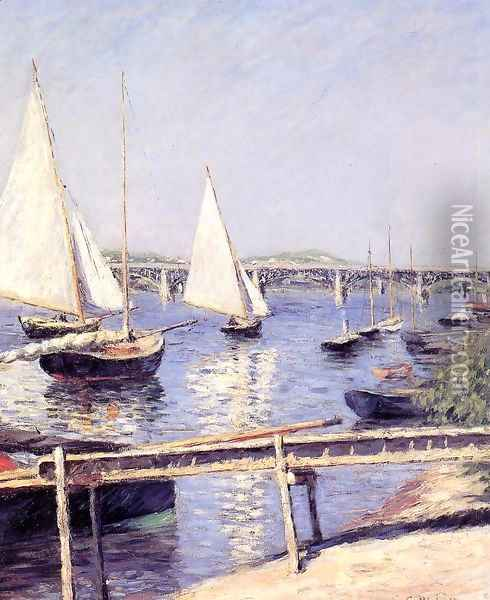 Sailboats In Argenteuil Oil Painting - Gustave Caillebotte
