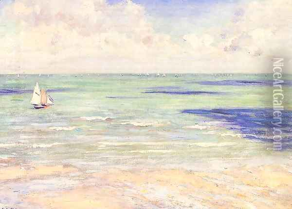 Seascape Regatta At Villers Oil Painting - Gustave Caillebotte