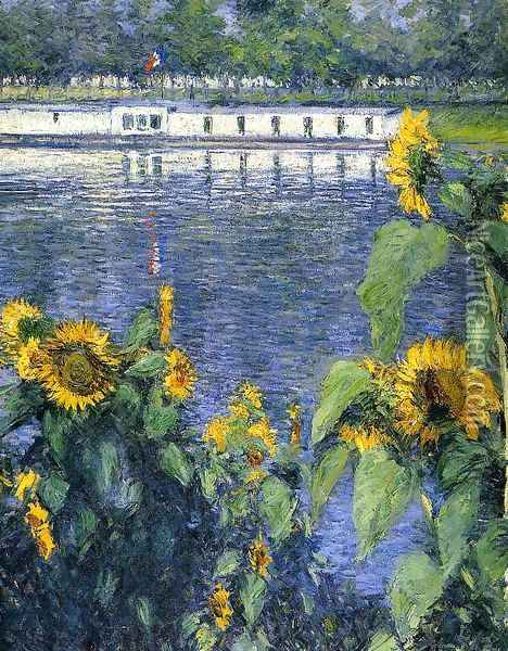 Sunflowers On The Banks Of The Seine Oil Painting - Gustave Caillebotte