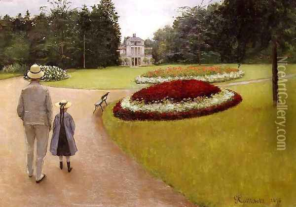 The Park On The Caillebotte Property At Yerres Oil Painting - Gustave Caillebotte