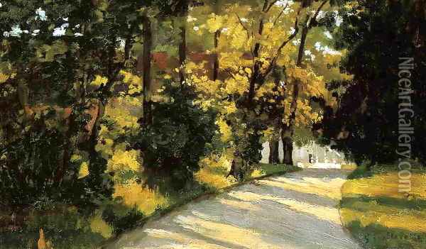 Yerres Path Through The Woods In The Park Oil Painting - Gustave Caillebotte
