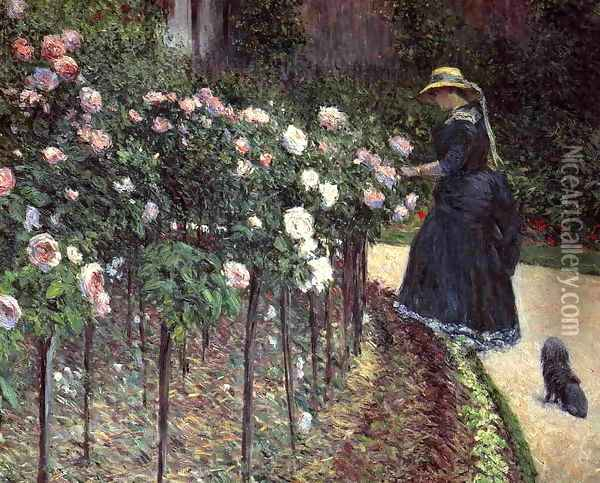 Roses Garden At Petit Gennevilliers Oil Painting - Gustave Caillebotte