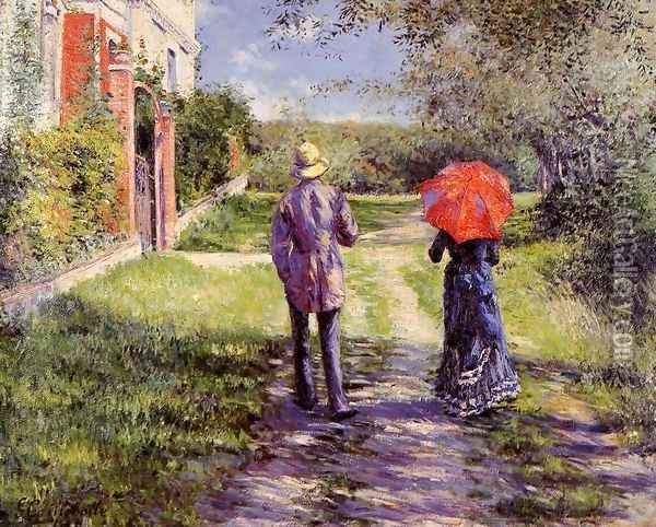 Rising Road Oil Painting - Gustave Caillebotte