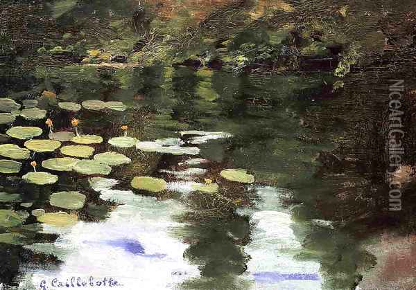 Yerres On The Pond Water Lilies Oil Painting - Gustave Caillebotte