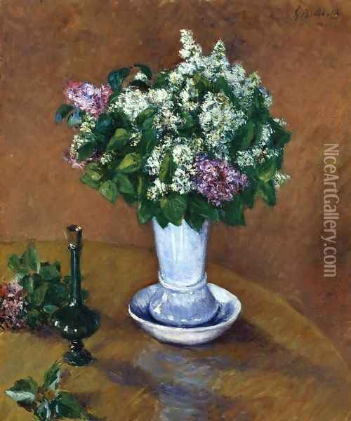 Still LIfe With A Vase Of Lilacs Oil Painting - Gustave Caillebotte