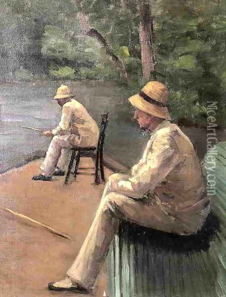 Fishermen On The Banks Of The Yerres Oil Painting - Gustave Caillebotte