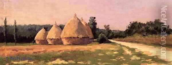 Landscape With Haystacks Oil Painting - Gustave Caillebotte