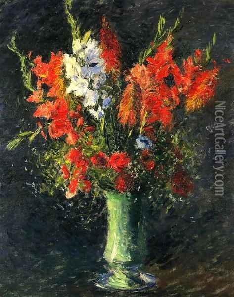 Vase Of Gladiolas Oil Painting - Gustave Caillebotte