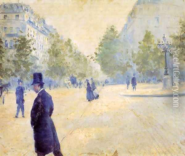 Place Saint Augustin Misty Weather Oil Painting - Gustave Caillebotte