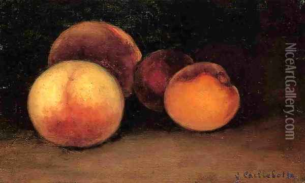 Peaches Nectarines And Apricots Oil Painting - Gustave Caillebotte