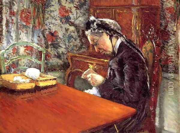 Portrait Of Madame Boissiere Knitting Oil Painting - Gustave Caillebotte