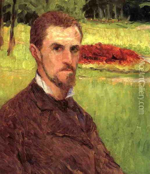 Self Portrait In The Park At Yerres Oil Painting - Gustave Caillebotte