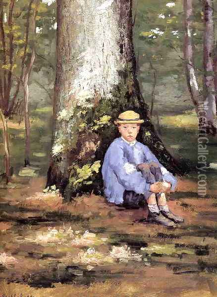 Yerres Camille Daurelle Under An Oak Tree Oil Painting - Gustave Caillebotte