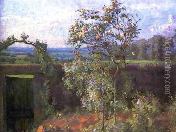 Landscape Near Yerres Aka View Of The Yerres Valley And The Garden Of The Artists Family Property Oil Painting - Gustave Caillebotte
