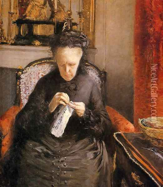 Portrait Of Madame Martial Caillebote (the Artists Mother) Oil Painting - Gustave Caillebotte