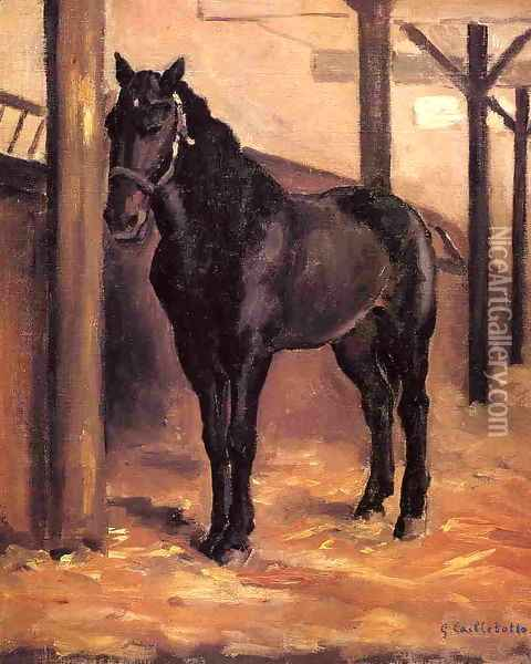 Yerres Dark Bay Horse In The Stable Oil Painting - Gustave Caillebotte