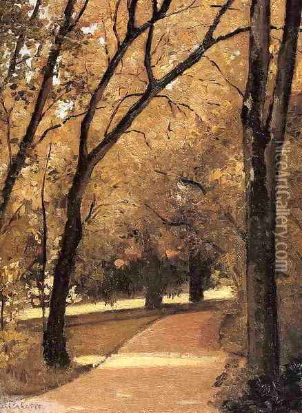 Yerres Path Through The Old Growth Woods In The Park Oil Painting - Gustave Caillebotte