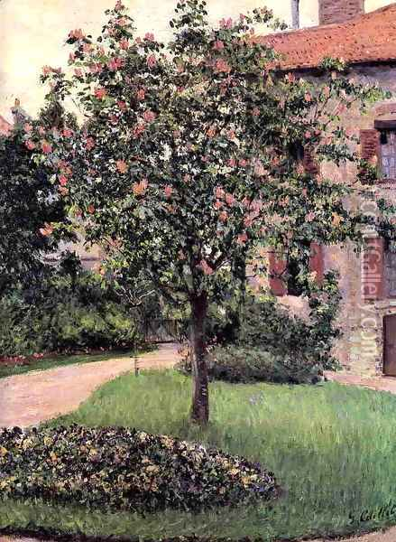Petit Gennevilliers Facade Southeast Of The Artists Studio Overlooking The Garden Spring Oil Painting - Gustave Caillebotte