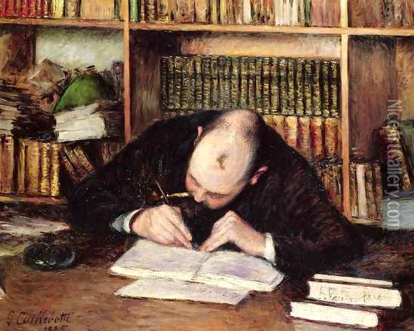 Portrait Of A Man Writing In His Study Oil Painting - Gustave Caillebotte