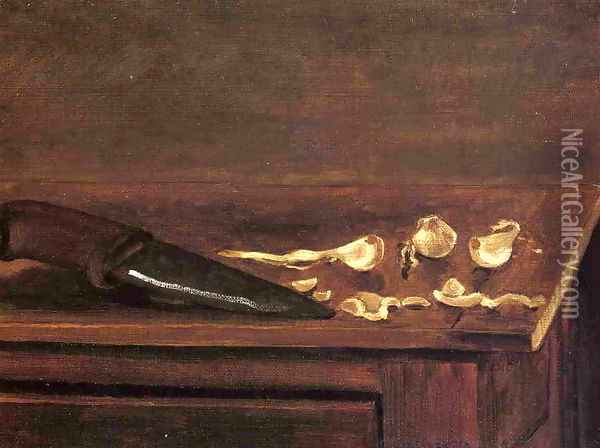 Garlic Cloves And Knife On The Corner Of A Table Oil Painting - Gustave Caillebotte