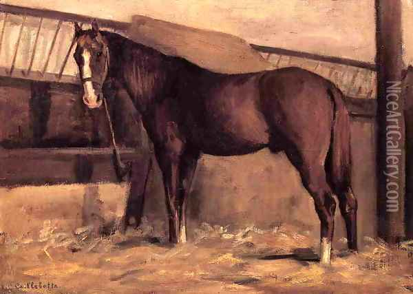 Yerres Reddish Bay Horse In The Stable Oil Painting - Gustave Caillebotte