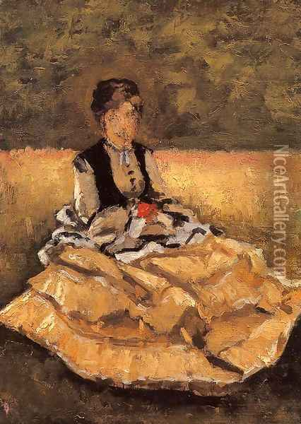 Woman Seated On The Grass Oil Painting - Gustave Caillebotte