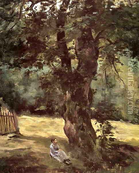Woman Seated Under A Tree Oil Painting - Gustave Caillebotte