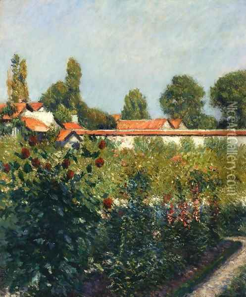 The Garden Of Petit Gennevillers The Pink Roofs Oil Painting - Gustave Caillebotte