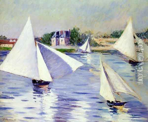 Sailboats On The Seine At Argenteuil Oil Painting - Gustave Caillebotte