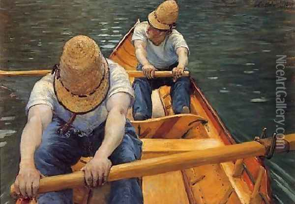 The Oarsmen Oil Painting - Gustave Caillebotte