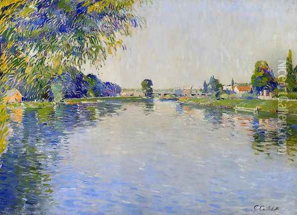 View Of The Seine In The Direction Of The Pont De Bezons Oil Painting - Gustave Caillebotte