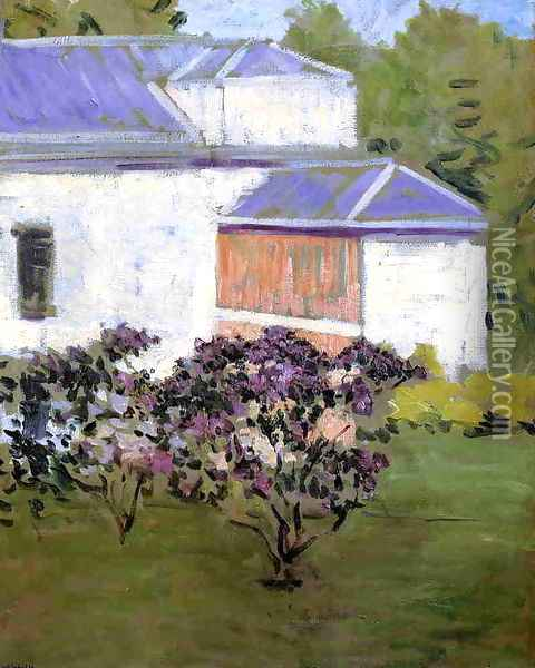 Yerres Part Of The South Facade Of The Casin Oil Painting - Gustave Caillebotte