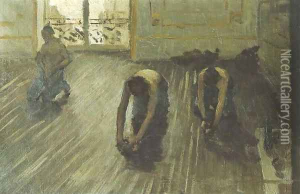 The Floor Scrapers (study) I Oil Painting - Gustave Caillebotte