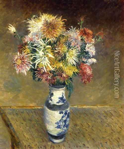 Chrysanthemums in a Vase Oil Painting - Gustave Caillebotte