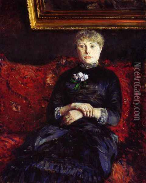 Woman Sitting on a Red-Flowered Sofa Oil Painting - Gustave Caillebotte