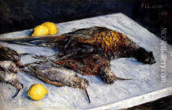 Game Birds And Lemons Oil Painting - Gustave Caillebotte