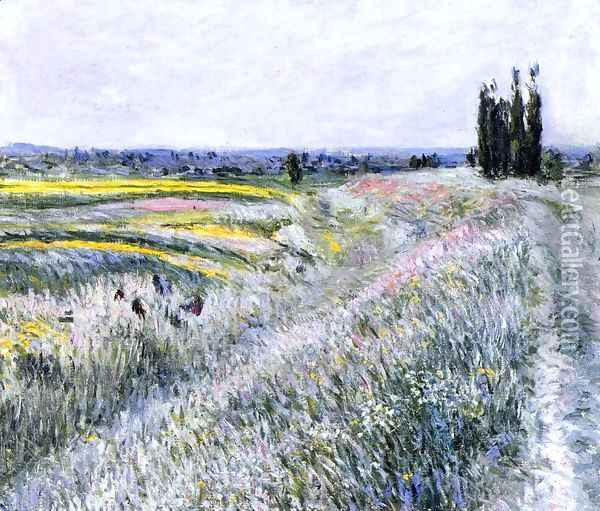 The Plain at Gennevilliers, Group of Poplars Oil Painting - Gustave Caillebotte