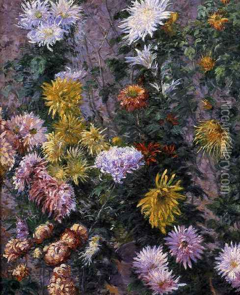 White and Yellow Chrysanthemums, Garden at Petit Gennevilliers Oil Painting - Gustave Caillebotte