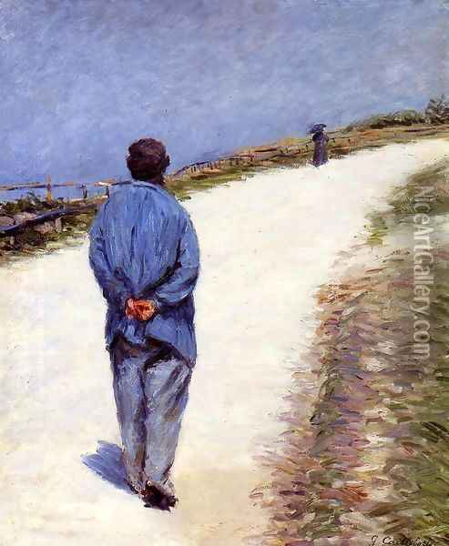 Man in a Smock (or Father Magloire on the Road between Saint-Clair and Etretat) Oil Painting - Gustave Caillebotte