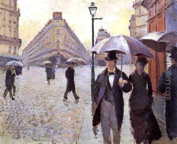 Paris Street: A Rainy Day (study) Oil Painting - Gustave Caillebotte