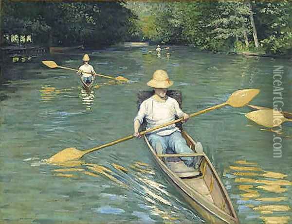 Skiffs Oil Painting - Gustave Caillebotte